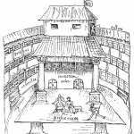 The Swan theatre in the 1500s, one of several illustrations in the book. (Wikipedia Commons)